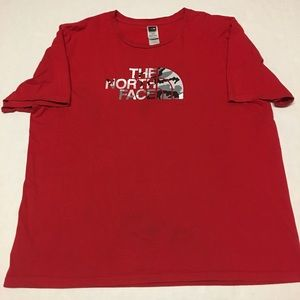 Vintage the north face camo logo spell out t shirt
